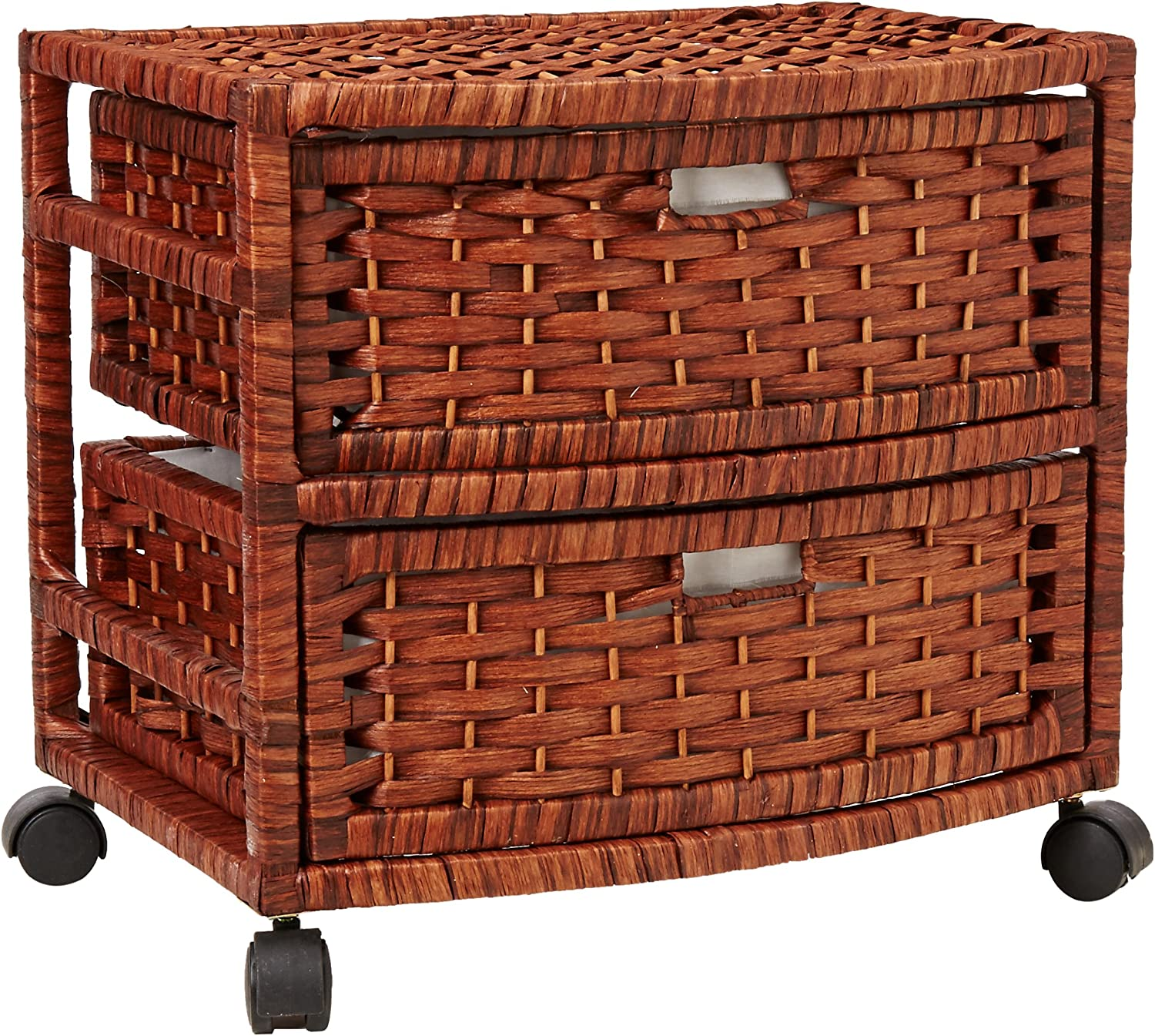 Oriental Furniture Simple Best Low Cost Nightstand End Tables, 16-Inch 2 Drawer Natural Fiber Wicker Style Storage Chest with Casters-Mahogany