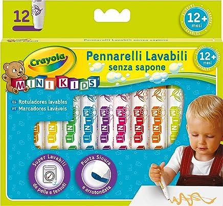 CRAYOLA- Mini Kids Pennarelli, Inchiostro Super Lavabile, Punta Arrotondata di Sicurezza, Colori Assortiti, età 12 Mesi, per Asilo e Tempo Libero, Pezzi, 8325