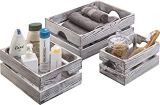 MyGift Vintage Whitewashed Wood Nesting Storage & Accent Boxes, Set of 3