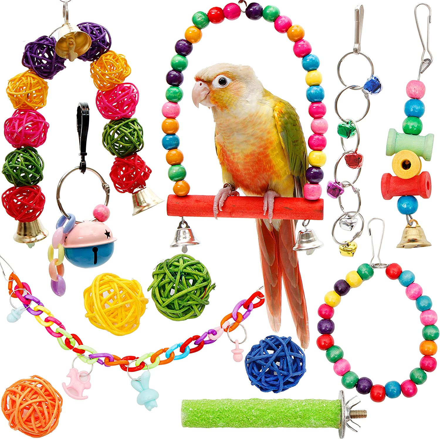 Beauty products Youngever 12 Packs Bird Swing Toy Bir Toys Parrot Bell Hanging OFFicial mail order