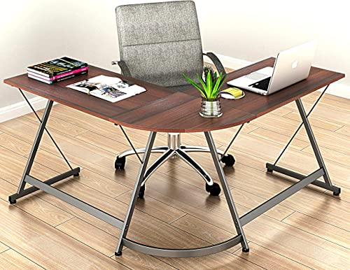 wholesale L-Shaped Home outlet online sale Computer new arrival Corner Desk, Walnut outlet online sale