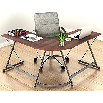 Le Crozz SHW L-Shape Corner Desk Computer Gaming Desk Table, Walnut