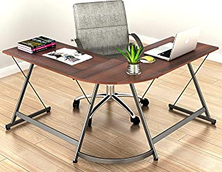 SHW L-Shaped Home Office Corner Desks Wood Top, Walnut