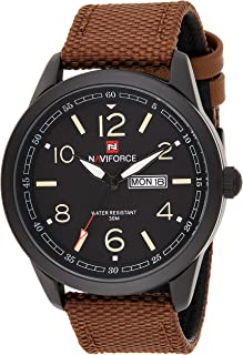 Naviforce Men's Black Dial Genuine Leather Analogue Classic Watch - NF9101-BYBN