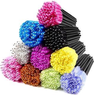 ECBASKET 500PCS Disposable Mascara Wands Applicators Multicolored Mascara Brushes Eyelash Eyebrow Brushes Cosmetic Brush M...
