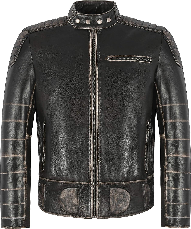 THUNDER MEN'S JAKCKET Black Wax Biker Fashion Pre Distressed Real Leather Jacket 7289 (l)