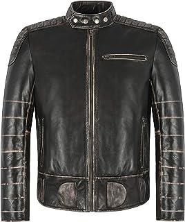 THUNDER MEN'S JAKCKET Black Wax Biker Fashion Pre Distressed Real Leather Jacket 7289 (xx_l)