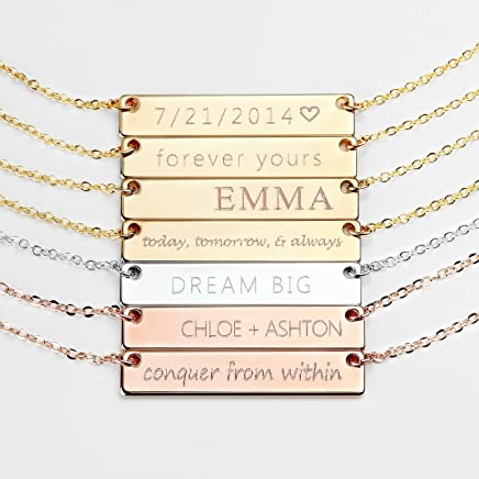 Personalized Necklace Silver Name Plate Bar Gold Necklace Custom Silver Necklace Wedding Bridesmaid Gift Mom Wedding Gifts for Her - 4N