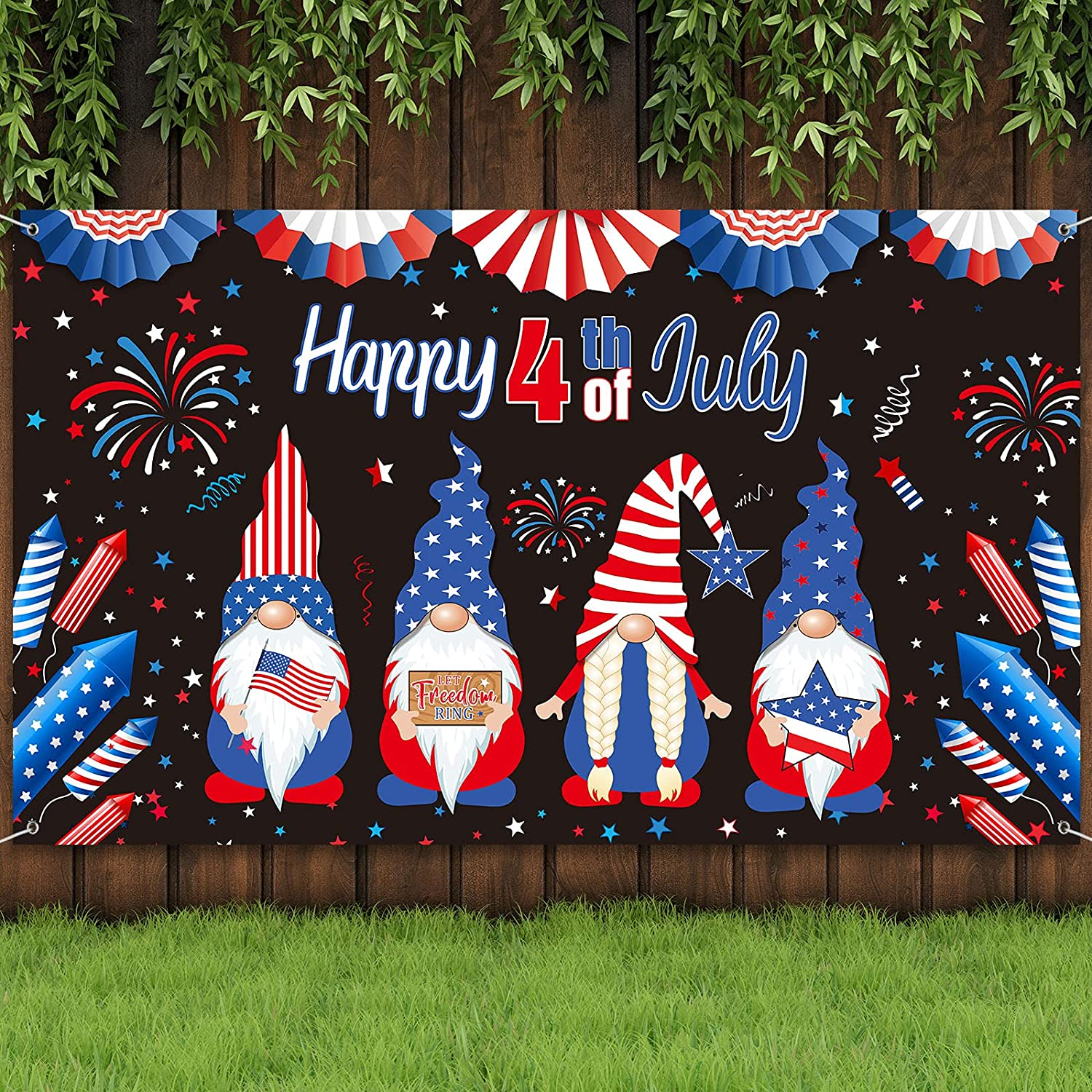PatrioticBackdrop 4thofJulyBackground Independence Day Photography Backdrop Patriotic Decorations with Fireworks, Red Blue Stars and Gnomes for Veterans Memorial National Day Party, 6 x 4 ft