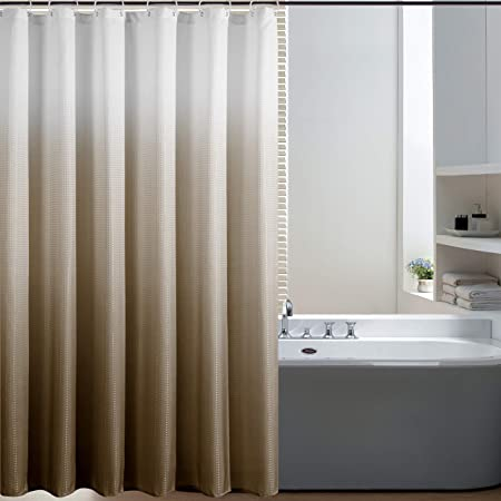 Bermino Textured Fabric Bath Shower Curtain - Ombre Shower Curtains for Bathroom with 12 Hooks, 70 x 72 inch, Brown Gradient
