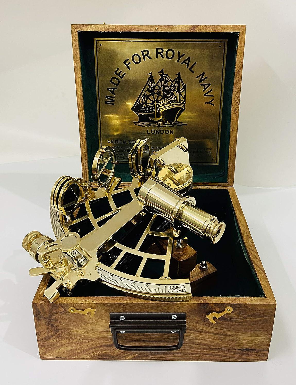 Sextante náutico de latón pulido de 22,86 cm hecho a mano con caja de madera | Sextante de navegación | Sextante real | Vintage antiguo marítimo Astrolabe Sextante coleccionable