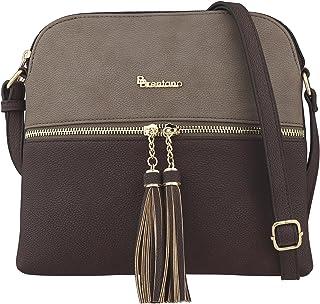 B BRENTANO Vegan Lightweight Crossbody Bag with Tassel Accents Medium