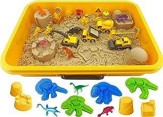 INvench Construction Dinosaur Play Sand Set - 38 Pieces Sensory Bin Sand Kit Include 2 lbs Magic Sand, Construction Vehicl...