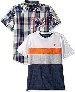 U.S. Polo Assn. 男童短袖梭织亨利衫 T 恤套装