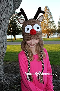 Crochet Rudolph Red Nosed Reindeer Earflap Beanie with Braids ,Christmas Reindeer Hat, Baby, Teen, Womens, Mens Adult