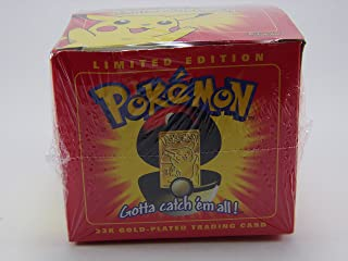 Limited Edition Red 23K Gold Plated Pikachu #25 Trading Card in Pokeball Novelty