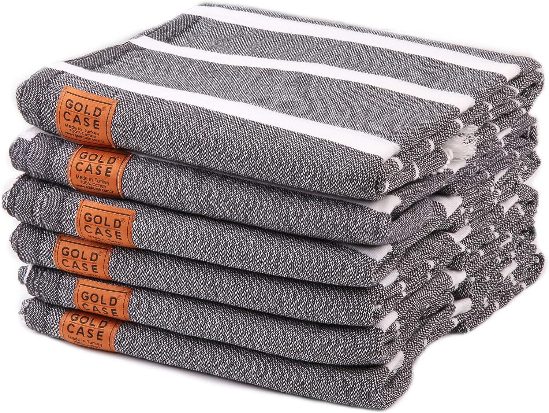 gold Case Set of 6 XXL Lara Pestemal Towels Turkish Cotton Bath Beach Hammam Towel Peshtemal Throw Blanket (Black)