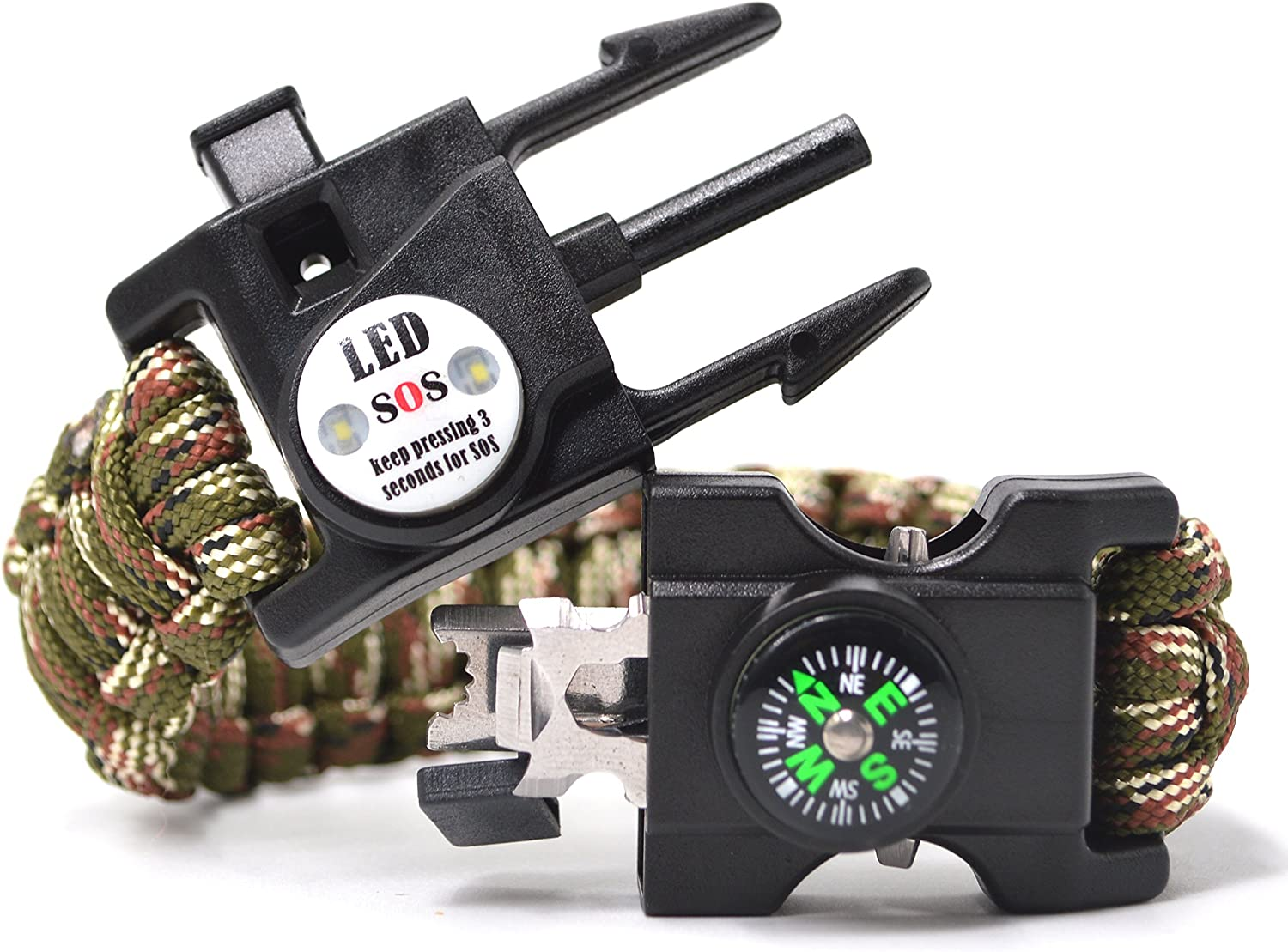 Auchee LED SOS Ranking TOP12 Emergency Paracord Bracelet 15 Max 47% OFF The in 1 ULTIMATE