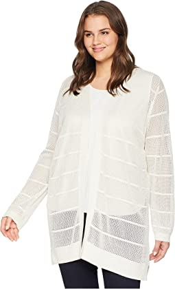 Plus Size Long Sleeve Lurex Cardigan