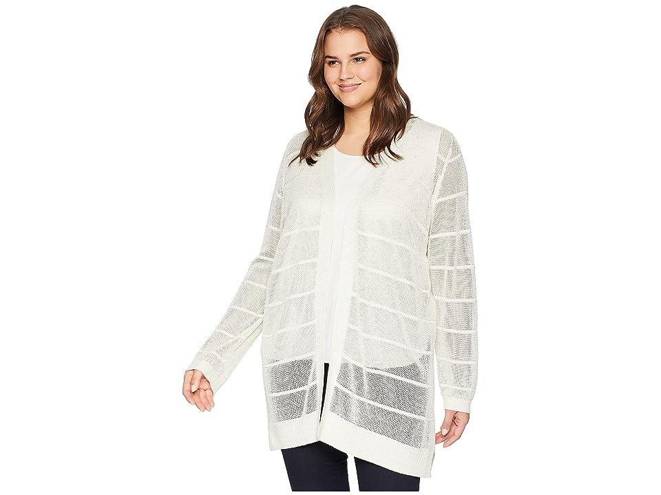 Calvin Klein Plus Plus Size Long Sleeve Lurex Cardigan (Soft White) Women