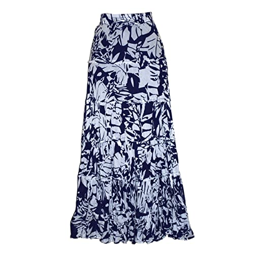 EeZeeCat Ladies Long 100% Crinkle Cotton Tiered Hippy Boho Gypsy Skirt with Internal Petticoat