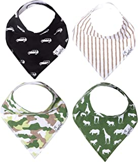 """Baby Bandana Drool Bibs for Drooling and Teething 4 Pack Gift Set for Boys """"Safari Set"""" by Copper Pearl"""