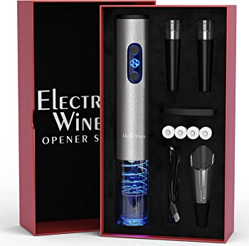 Electric Wine Opener with Charger- Wine Accessories Gift Set- Kit with Batteries and Foil Cutter- Uncle Viner G105