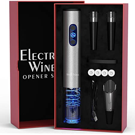 Electric Wine Opener Set with Charger and Batteries- Holiday Gift Set - Mother's Day Holiday Wedding Anniversary Birthday Gift Idea Kit with Batteries and Foil Cutter Uncle Viner G105