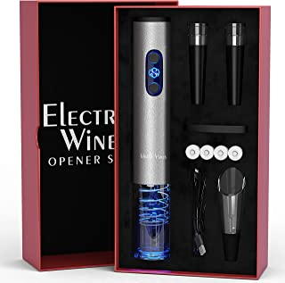 Electric Wine Opener Set with Charger and Batteries- Gift Set for Wine Lovers - Anniversary Birthday Gift Idea Kit Cordles...
