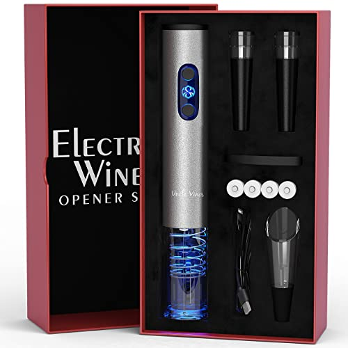 Electric Wine Opener Set with Charger and Batteries- Holiday Gift Set - Father's Day Holiday Wedding Anniversary Birthday Gift Idea Kit with Batteries and Foil Cutter Uncle Viner G105