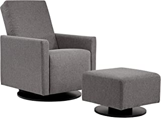 Dutailier Luongo 0434 Upholstered Glider and Swivel Dark Grey