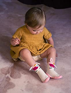 Nuby Snekz Comfortable Rubber Sole Sock Shoes for First Steps- Pink Unicorn/Small 7-14 Months