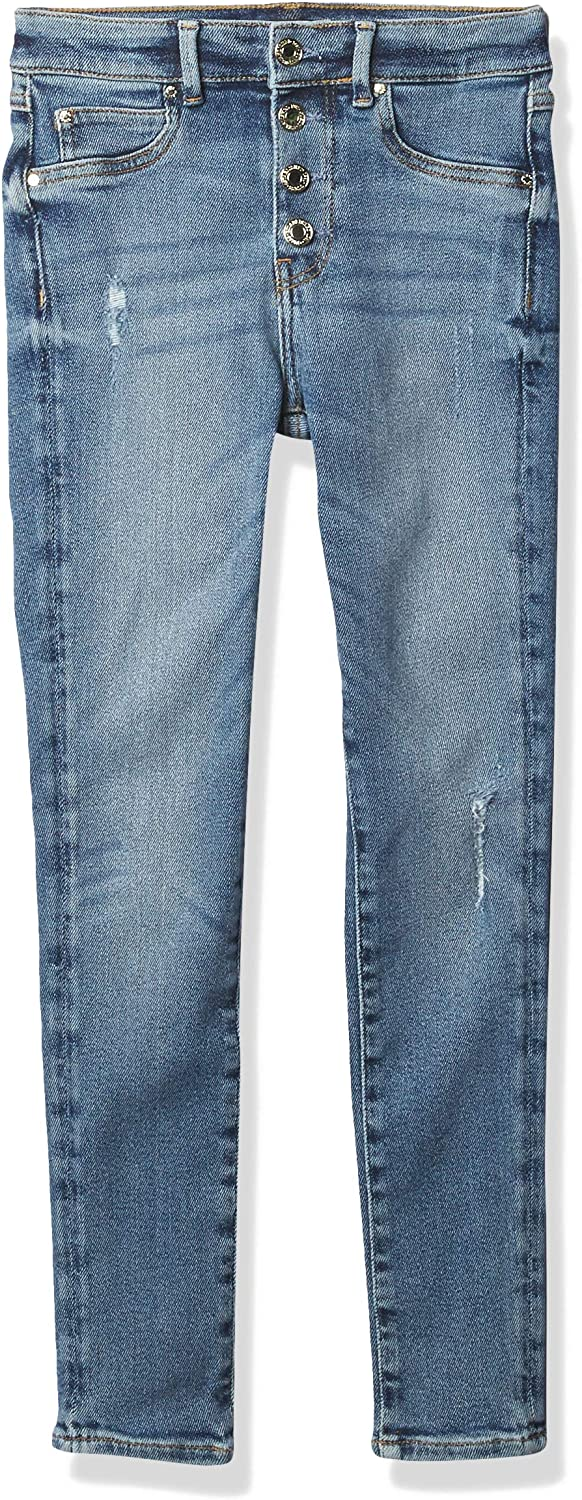 Free shipping anywhere in the nation GUESS Girls' Big Stretch Denver Mall Denim Hi Fron Waisted Skinny Button Fit