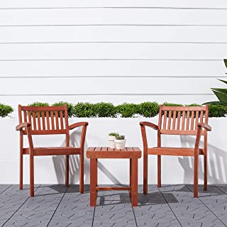 Malibu V1802SET5 Outdoor Patio 3-Piece Wood Dining Set with Stacking Chair, Natural