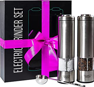 KSL Electric Salt and Pepper Grinder Set - Battery Operated Mill, Automatic Powered Shakers w/Light