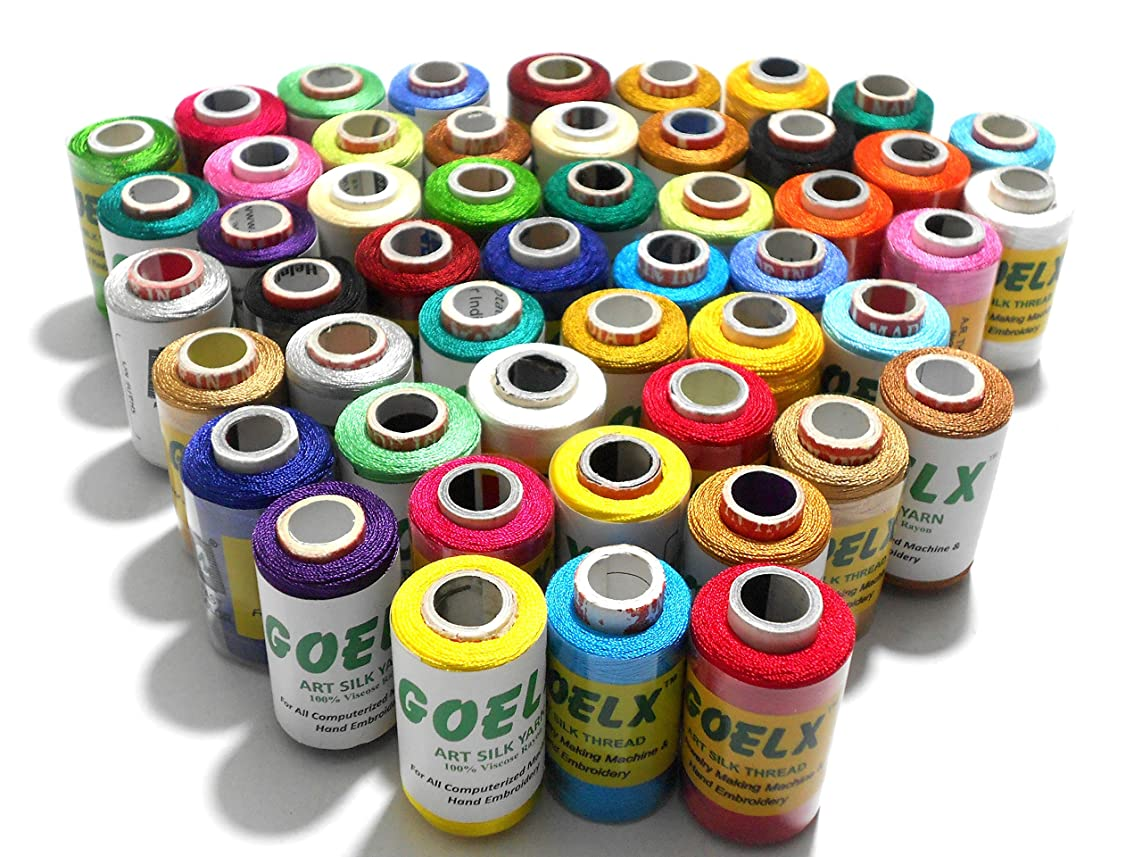 Goelx Silk Thread 50 spools(25 colors-each 2) Set for jewellery-tassel making- embroidery-crafts, shiny soft thread spools