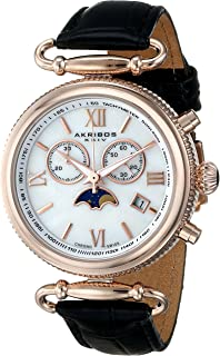 Akribos Multifunction Swiss Chronograph Watch - Sub-dial Complications Women's Watch - Mother of Pearl Dial and Leather Calfskin Strap - AK754