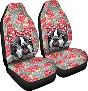 Gnarly Tees Floral Boston Terrier Car Seat Covers