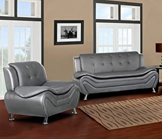Container Furniture Direct Arul Linen Upholstered Mid Century Modern Set Sofa Chair, Grey