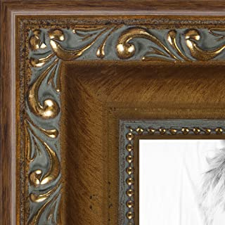 ArtToFrames 22x28 inch Dark Gold with Beads Wood Picture Frame, WOMD6301-22x28