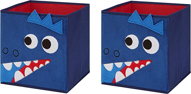 Animal Themed Toy Storage Bins And Coordinating Solid Collapsible Bins 2 Pack Sets Blue Dino 2 Pack