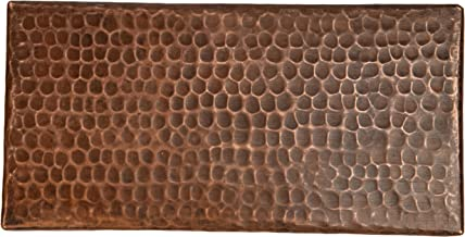 Premier Copper Products T48DBH_PKG8 4-Inch by 8-Inch Hammered Copper Tile - Quantity 8, Oil Rubbed Bronze