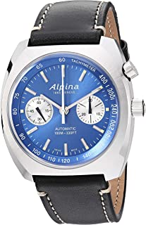 Alpina Men's Startimer Pilot Heritage Stainless Steel Swiss Automatic Aviator Watch with Leather Calfskin Strap, Blue, 23 ...