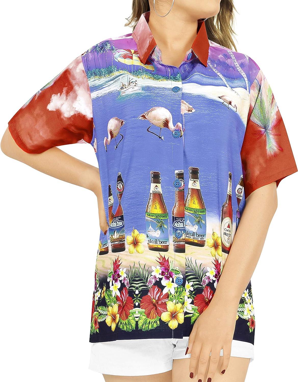 LA LEELA Women's Hawaiian Blouse Shirt Swim Short Sleeves Loose Fit 3D Printed