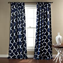 "Lush Decor Geo Trellis Curtains Room Darkening Window Panel Drapes Set for Living, Dining, Bedroom (Pair), 84"" x 52"", Navy"