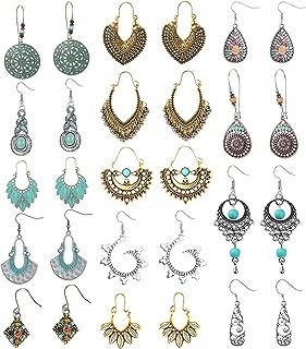 FIBO STEEL 14 Pairs Vintage Statement Bohemian Earrings for Women Girls Gypsy Tribal National Style Hollow Water Drop Dangle Boho Retro Earrings Set