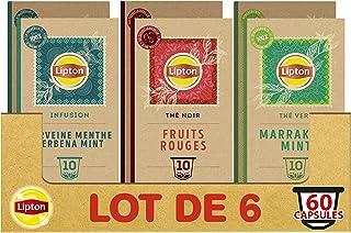 Lipton Assortiment de 3 Thés en Capsules Compatibles Nespresso : Thé Vert Marrakech Mint, Infusion Verveine Menthe, thé No...