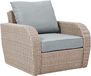 Crosley Furniture KO70141WH-MI St. Augustine Outdoor Wicker Arm Chair, Weathered White with Mist Cushions