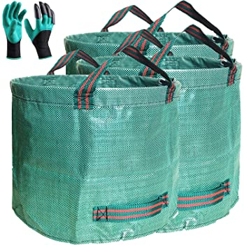 Professional 3-Pack 63 Gallons Lawn Garden Bags (D31, H19 inches) Reusable Yard Waste Bag with Gardening Gloves - Pat...