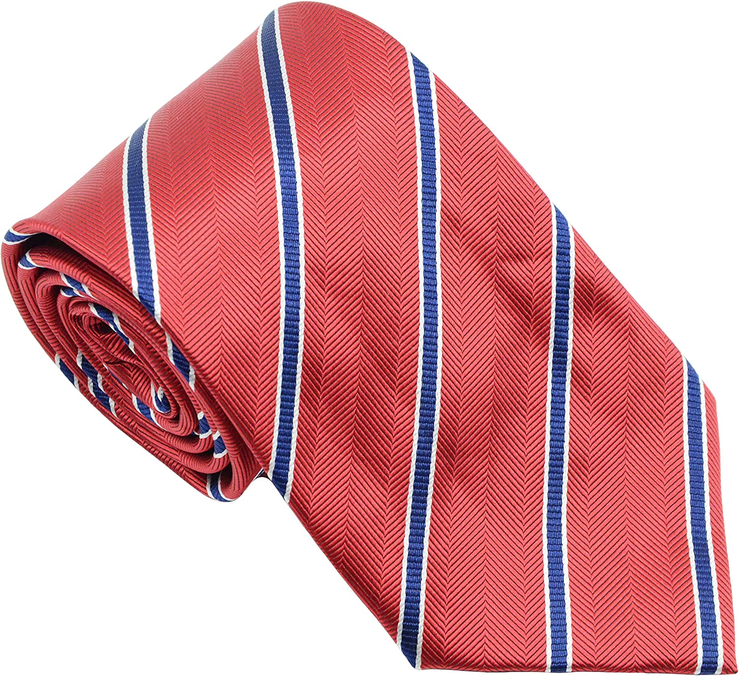 New Classic Striped Red lowest trend rank price Blue JACQUARD WOVEN Silk Neckt Tie Men's